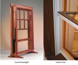 Counterweight and jambliner double hung window