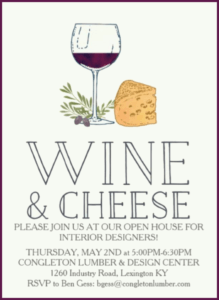 Congleton Lumber Wine & Cheeses Open House for Interior Designers